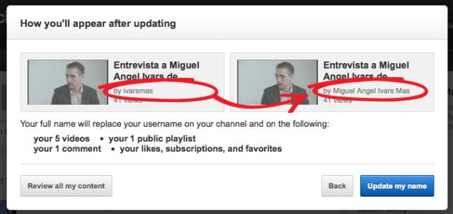 YouTube nombre real de Google Plus