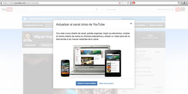 Nuevo diseño de los canales de YouTube