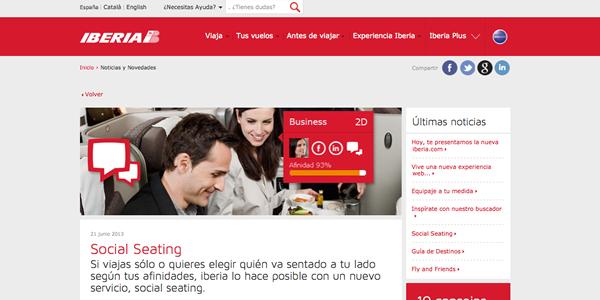 El Social Seating llega a los vuelos de Iberia